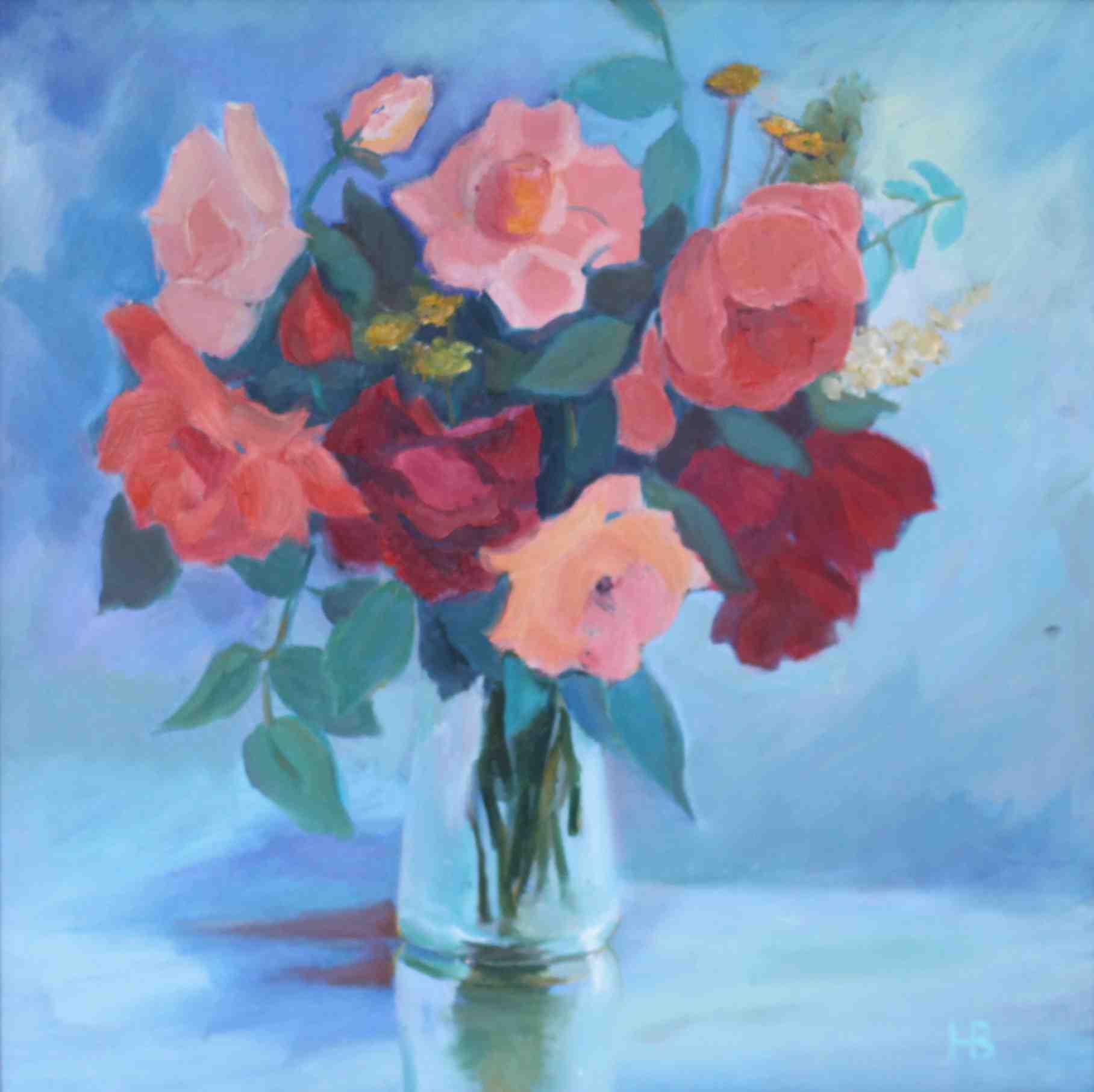 2014. Розы в вазе. Х.м. 40х40. 2014