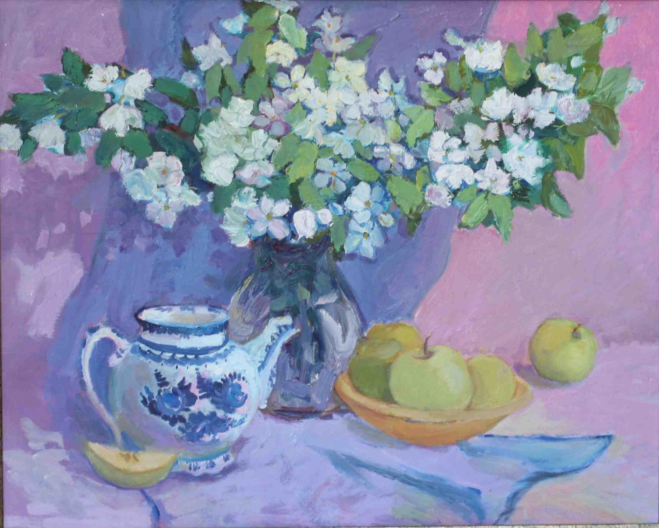 2014. Яблоня цветет. Оргалит.м .50х60