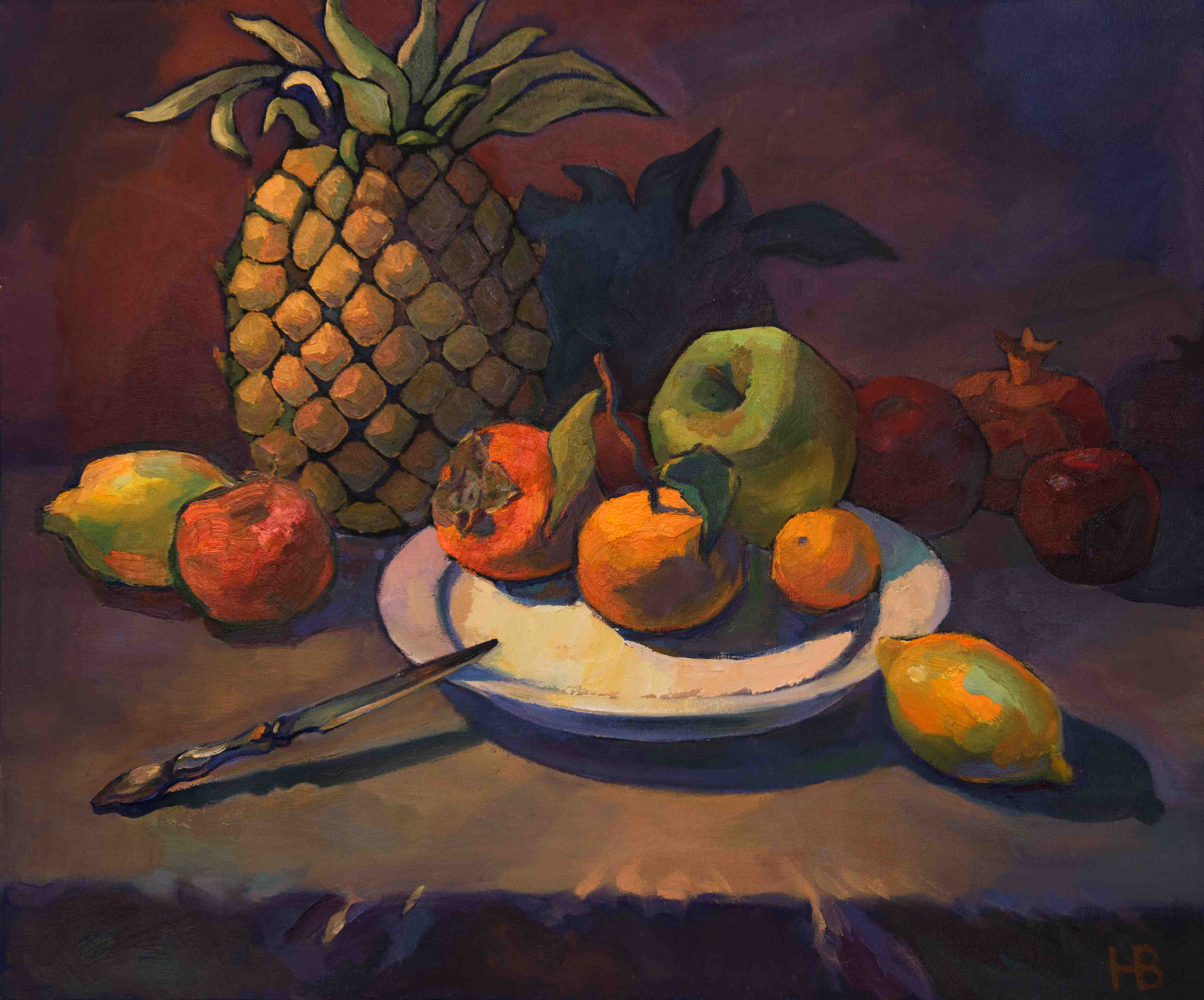 2017. Натюрморт с ананасом. Х.м. 50х60