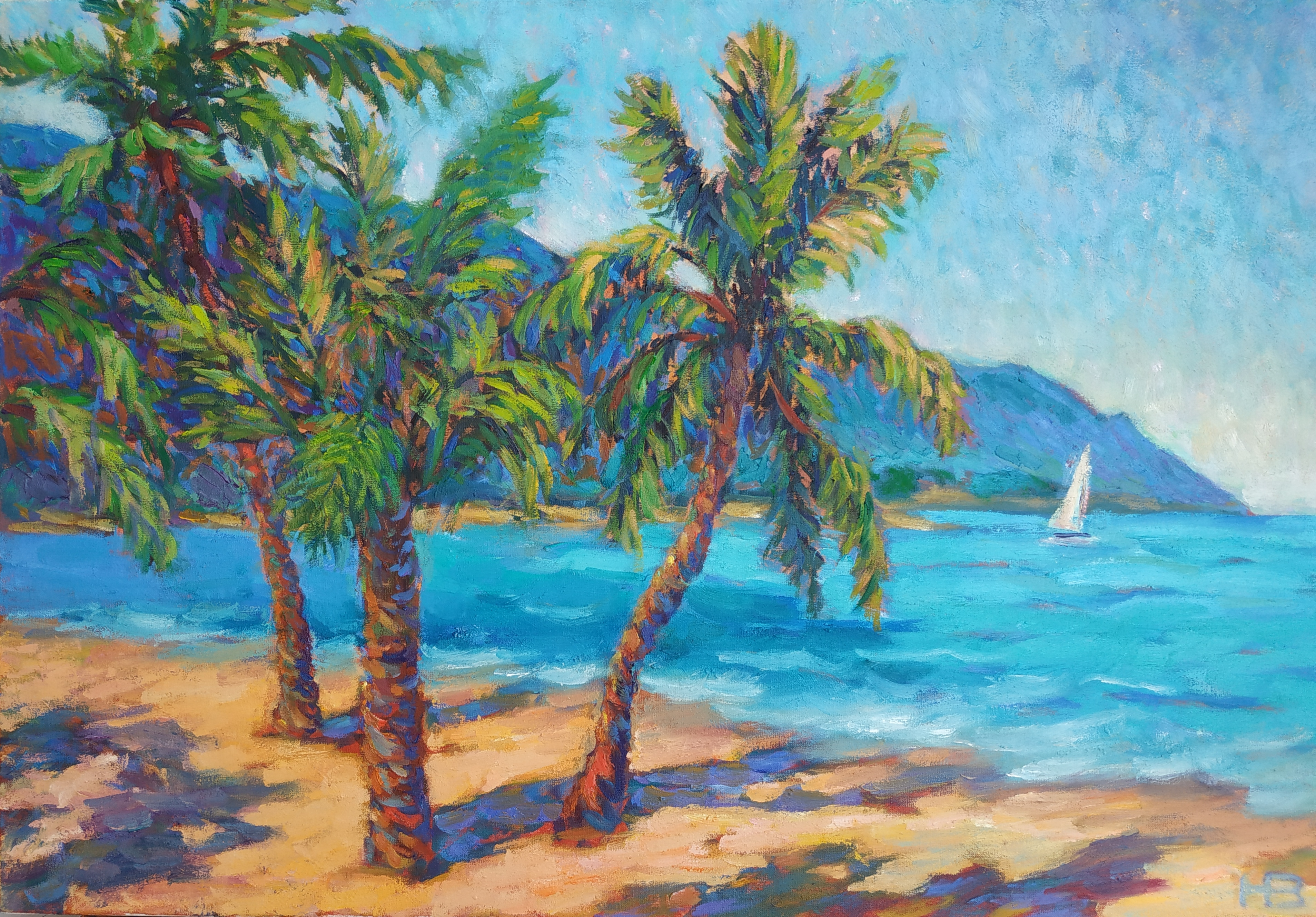 2021.-Пляж-Вьетнама-.Х.м.-40х60-
