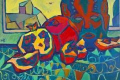 2018. Гранаты с маской. Х.м. 50х70